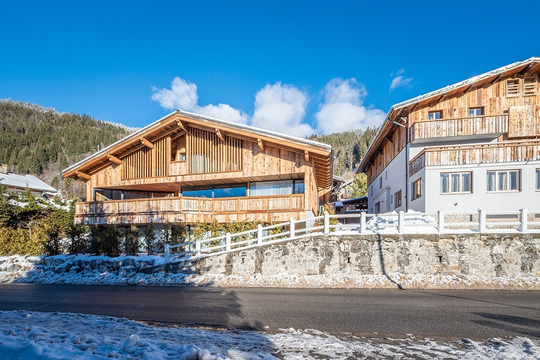 Outside view of Le Rouge luxury chalet in Morzine