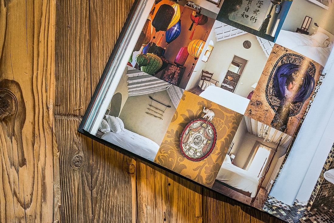 Photography book on a wooden table
