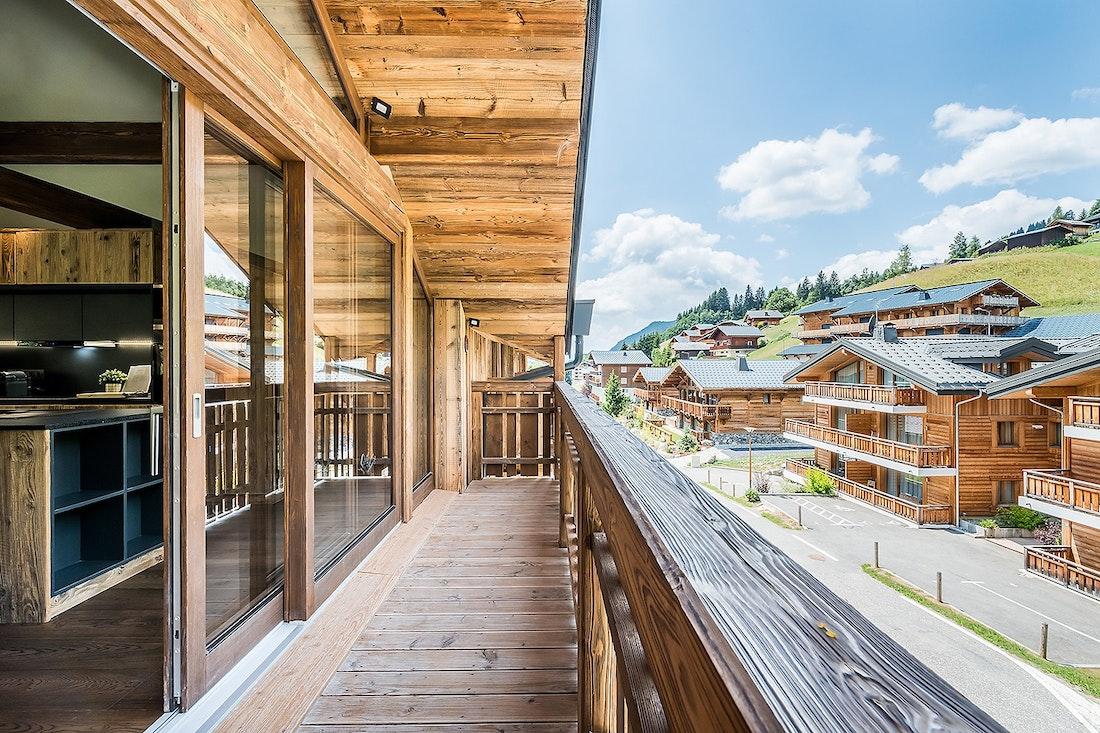Terrasse avec vue sur Les Gets dans le chalet Moulin I Les Gets
