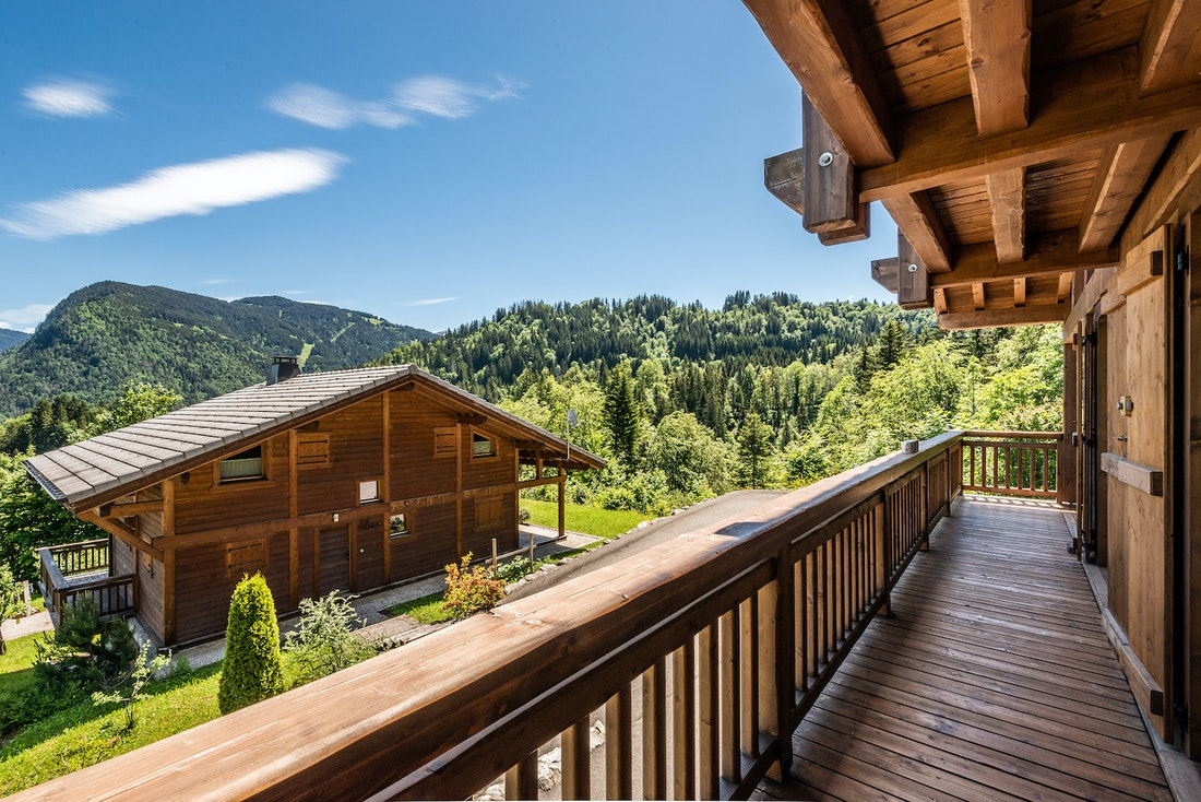 View over the French Alps from the terrace of Balata luxury chalet in Morzine