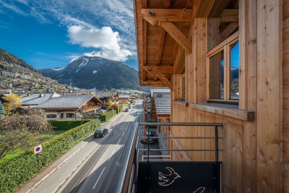 Terrace with views over the Alps at Flocon accommodation in Morzine