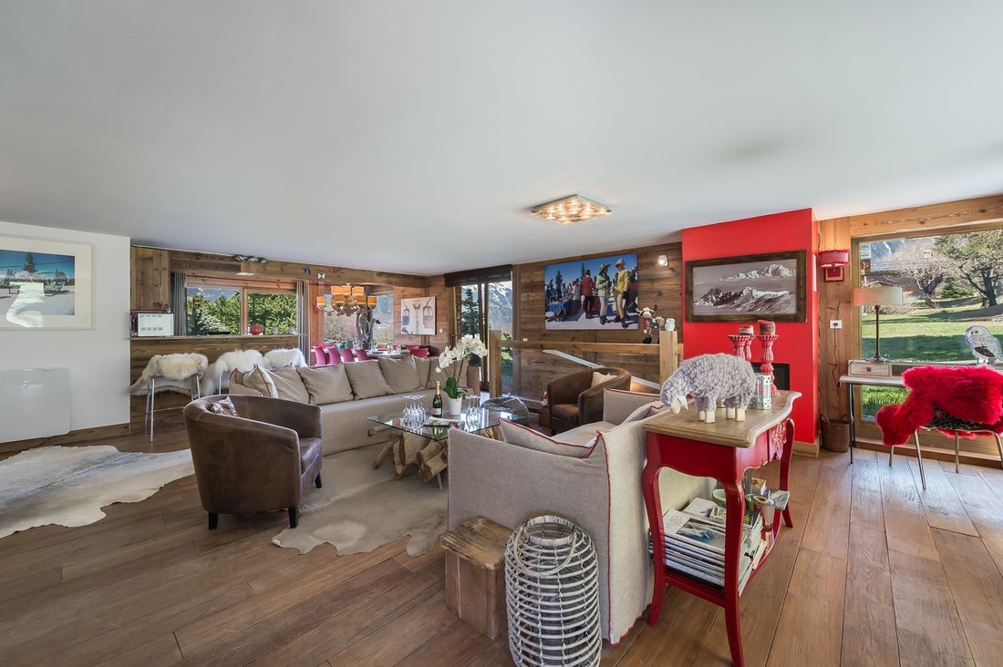 Grand salon élégant appartement de luxe aux pieds des pistes Moabi Courchevel Le Praz