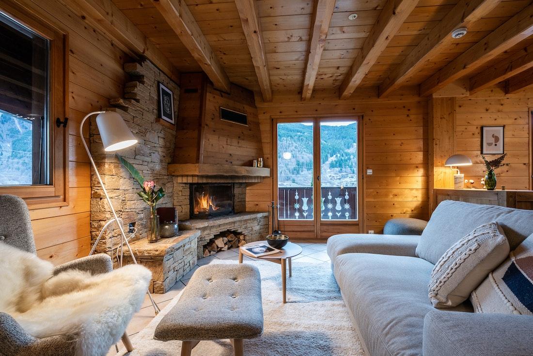 Luxurious living room fireplace luxury family chalet Doux-Abri Morzine