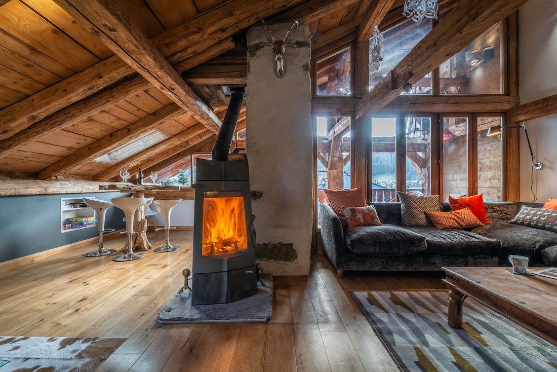 Black fireplace at La Ferme de Margot luxury chalet in Morzine
