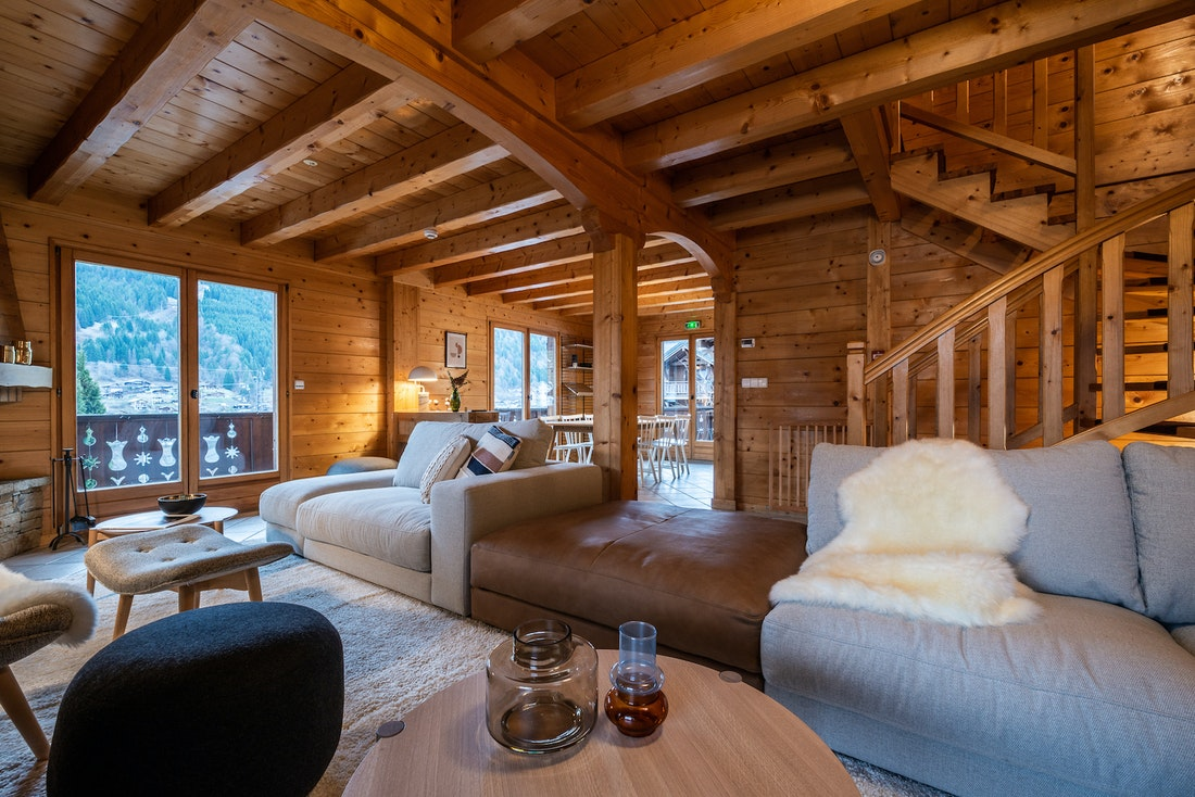 Contemporary wooden living room luxury family chalet Doux-Abri Morzine