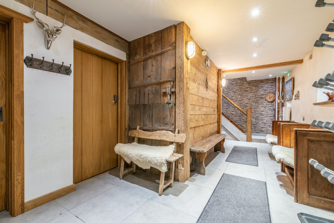 Entrance and ski room at La Ferme de Margot luxury chalet in Morzine