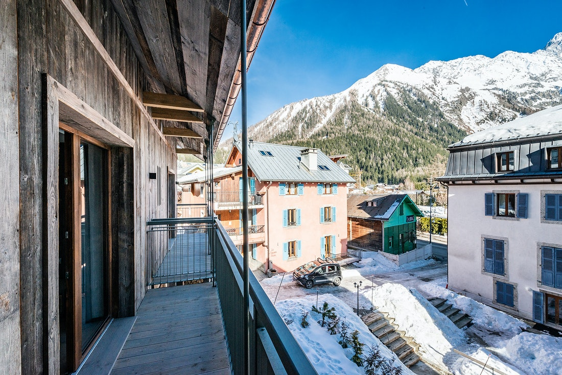 Private balcony with views over the mountains at Herzog luxury chalet in Chamonix