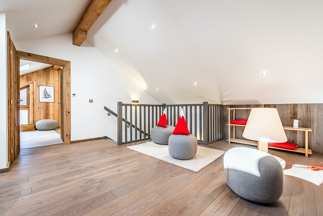 Play area with mountain shaped pillows at Ruby luxury accommodation in Chamonix