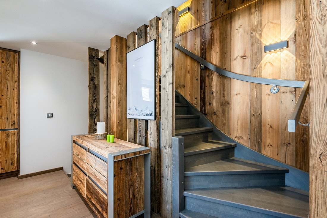 Stairs at Badi luxury chalet in Chamonix
