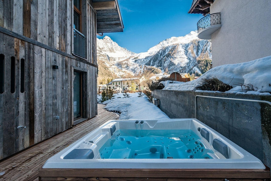 Private hot tub with mountain views at Eyong accommodation in Chamonix