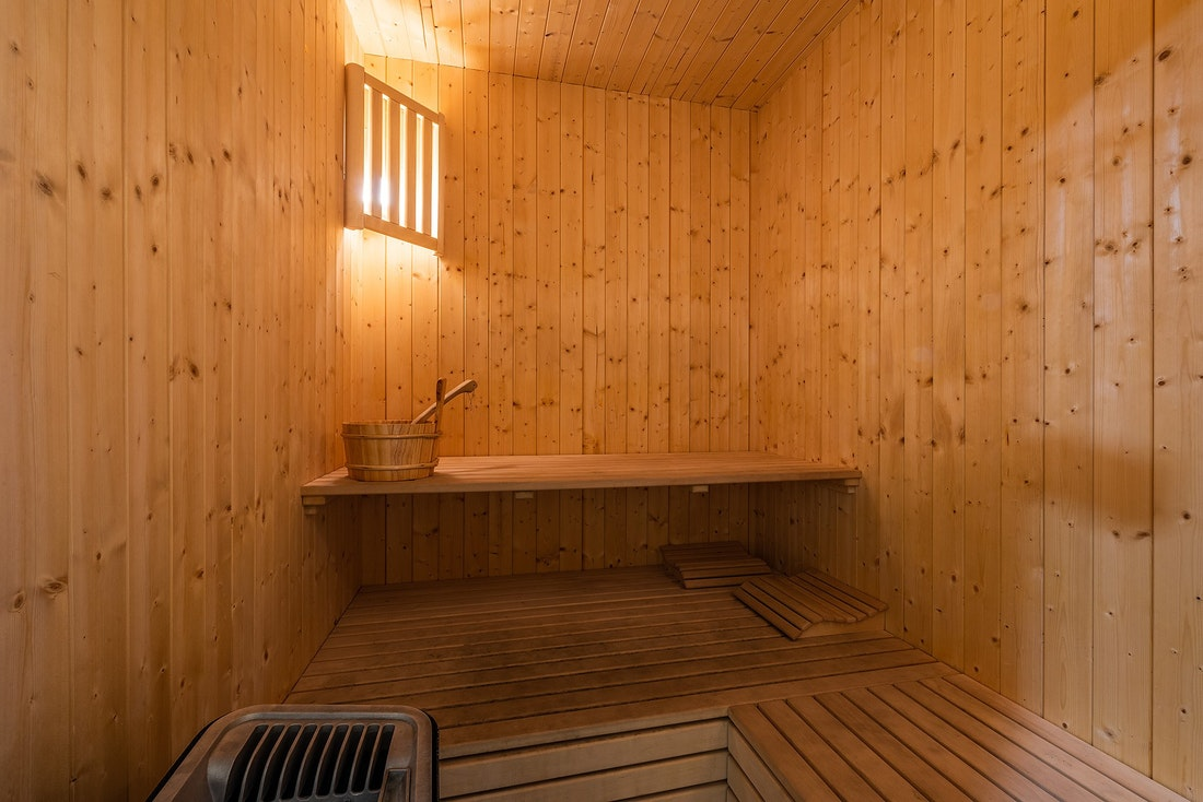 Inside the sauna of Abachi luxury chalet in Les Gets