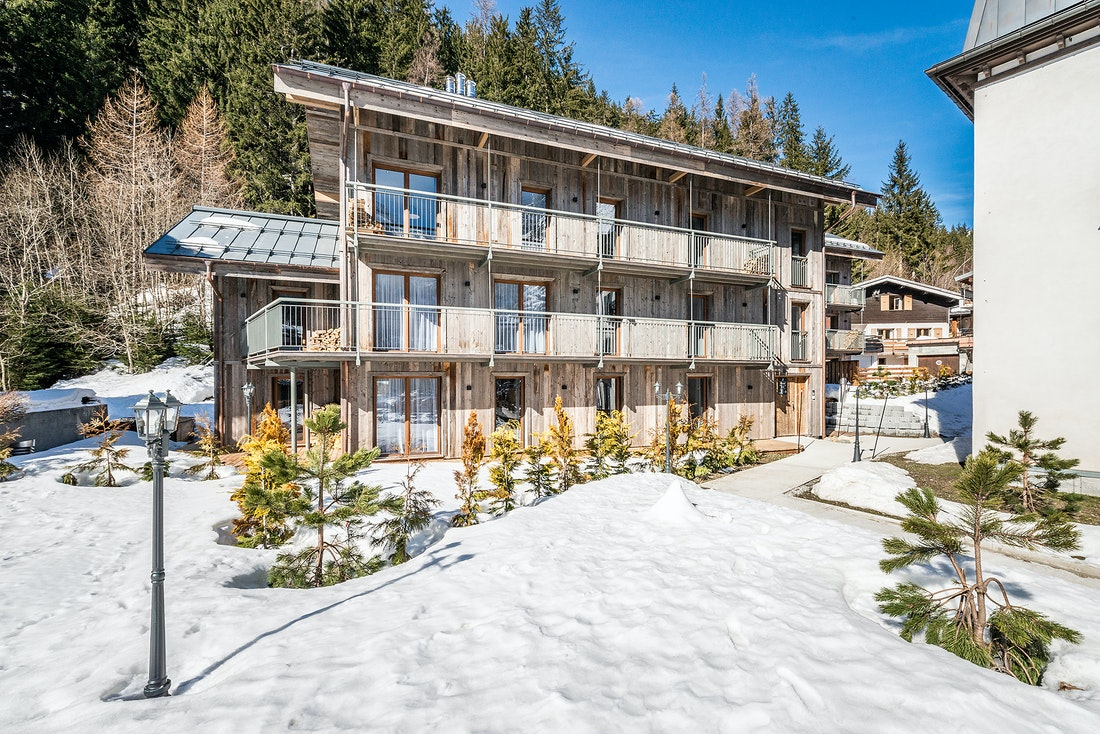 Exterior of Ruby luxury accommodation in Chamonix under the snow
