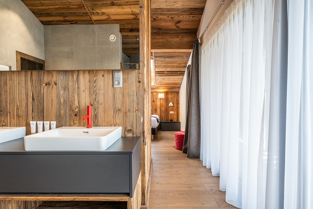 Modern wooden bathroom at Le Rouge luxury chalet in Morzine