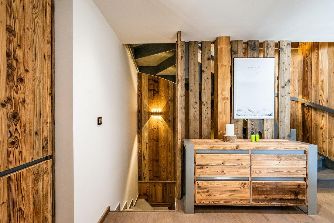 Stairs and storage at Badi luxury chalet in Chamonix