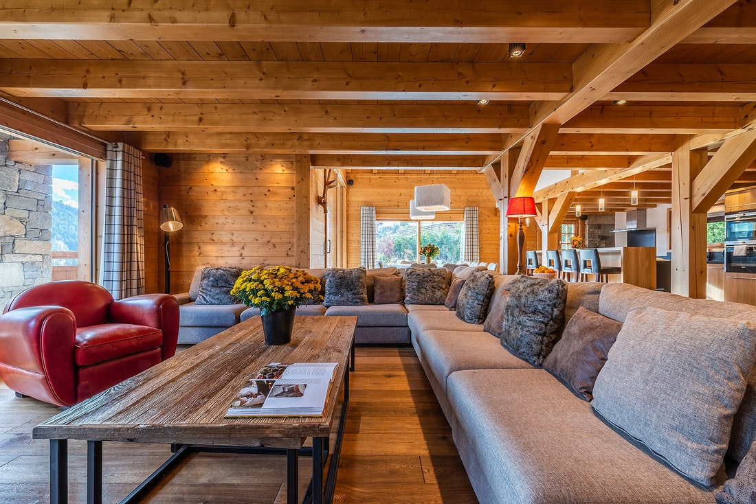 Luxurious living room luxury family chalet Abachi Les Gets