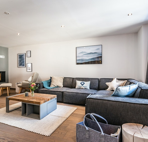 Alpine living room luxury ski Chalet Herzog Chamonix