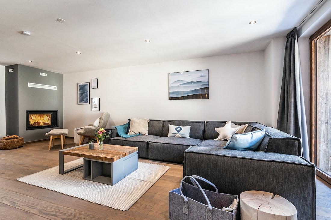 Alpine living room luxury family Chalet Herzog Chamonix