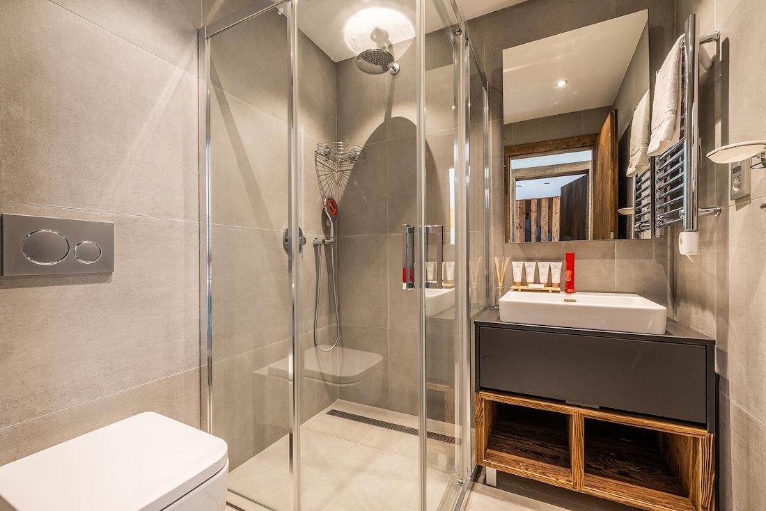 Modern bathroom at Le Rouge luxury chalet in Morzine