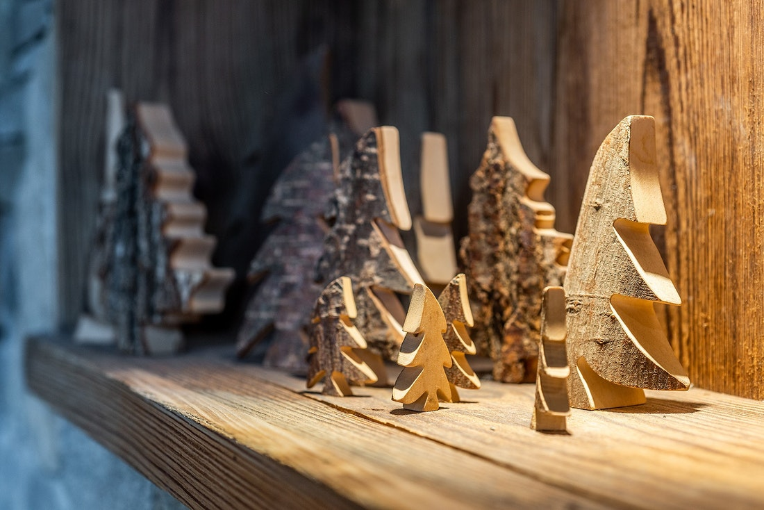 Wooden trees decoration at Abachi luxury chalet in Les Gets