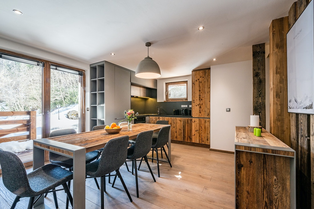 Kitchen and dining room at Badi luxury chalet in Chamonix