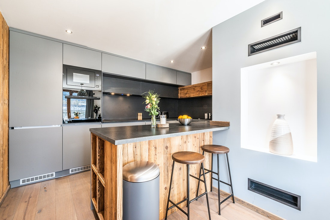 Fully-equipped kitchen at Ruby luxury accommodation in Chamonix