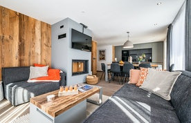 Fireplace and TV in the living room of Ravanel luxury accommodation in Chamonix