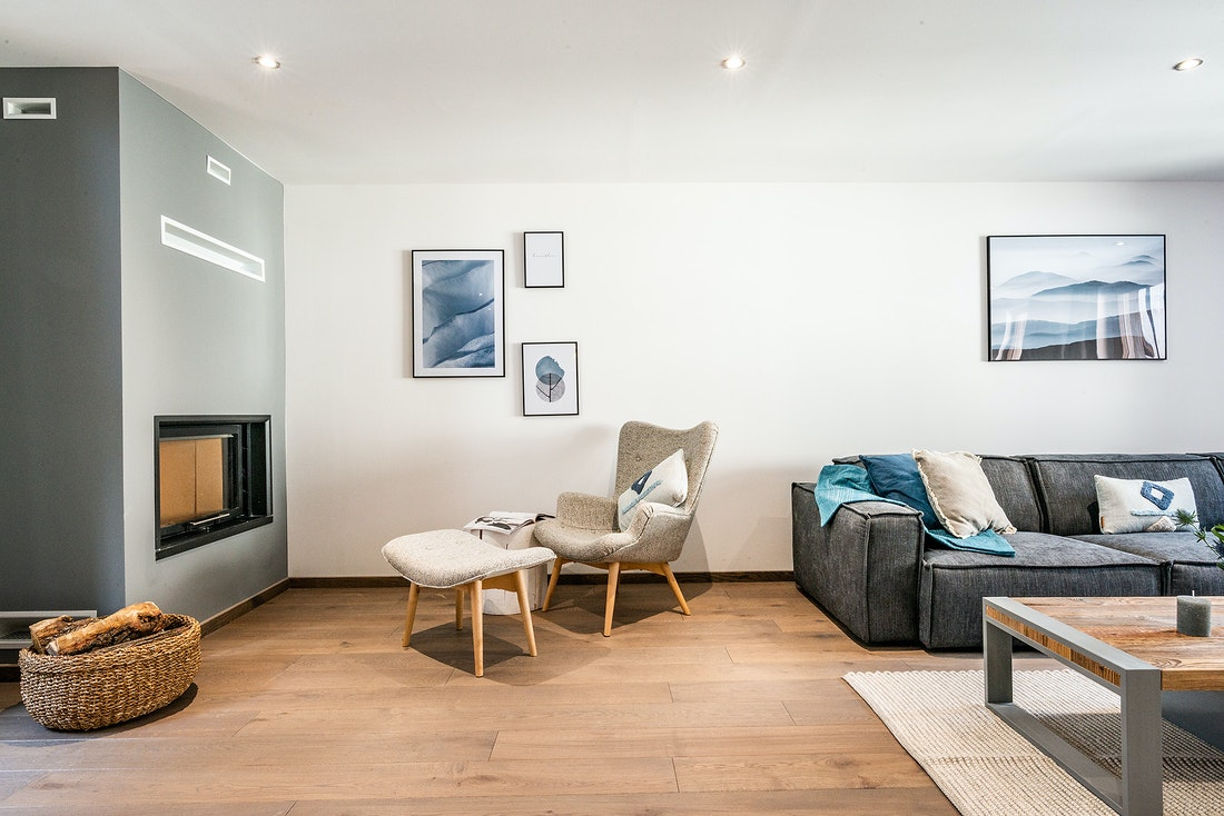 Spacious living room luxury family Chalet Herzog Chamonix