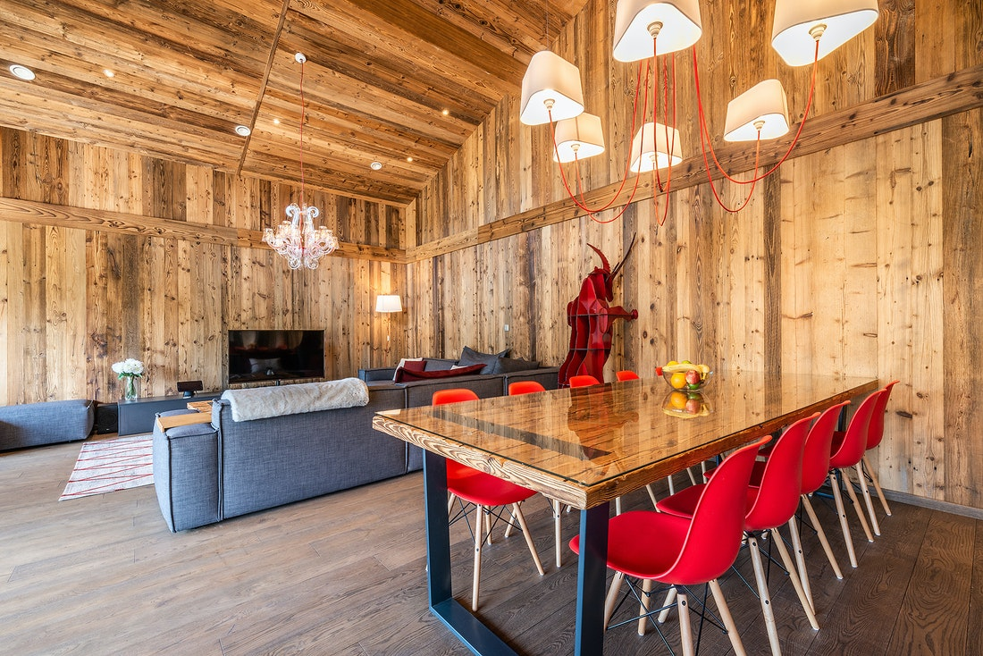 Designer living room of Le Rouge luxury chalet in Morzine