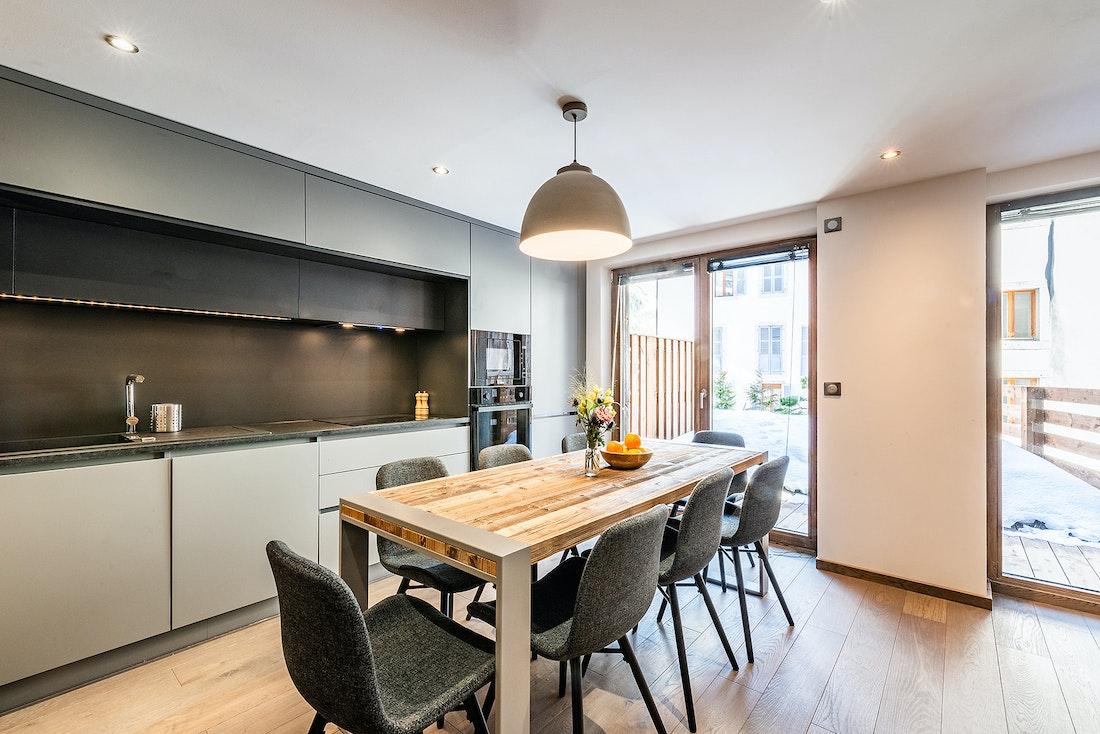 Comtemporary fully equipped kitchen luxury family Chalet Herzog Chamonix