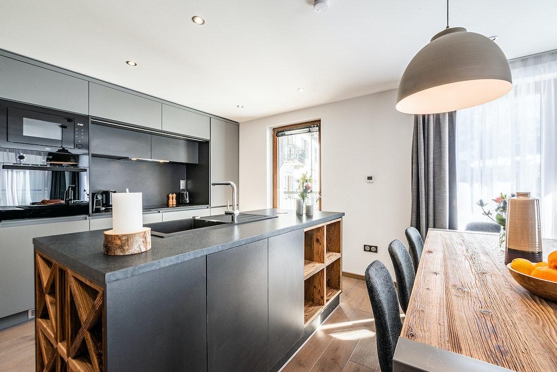 Fully-equipped modern kitchen at Ravanel luxury accommodation in Chamonix
