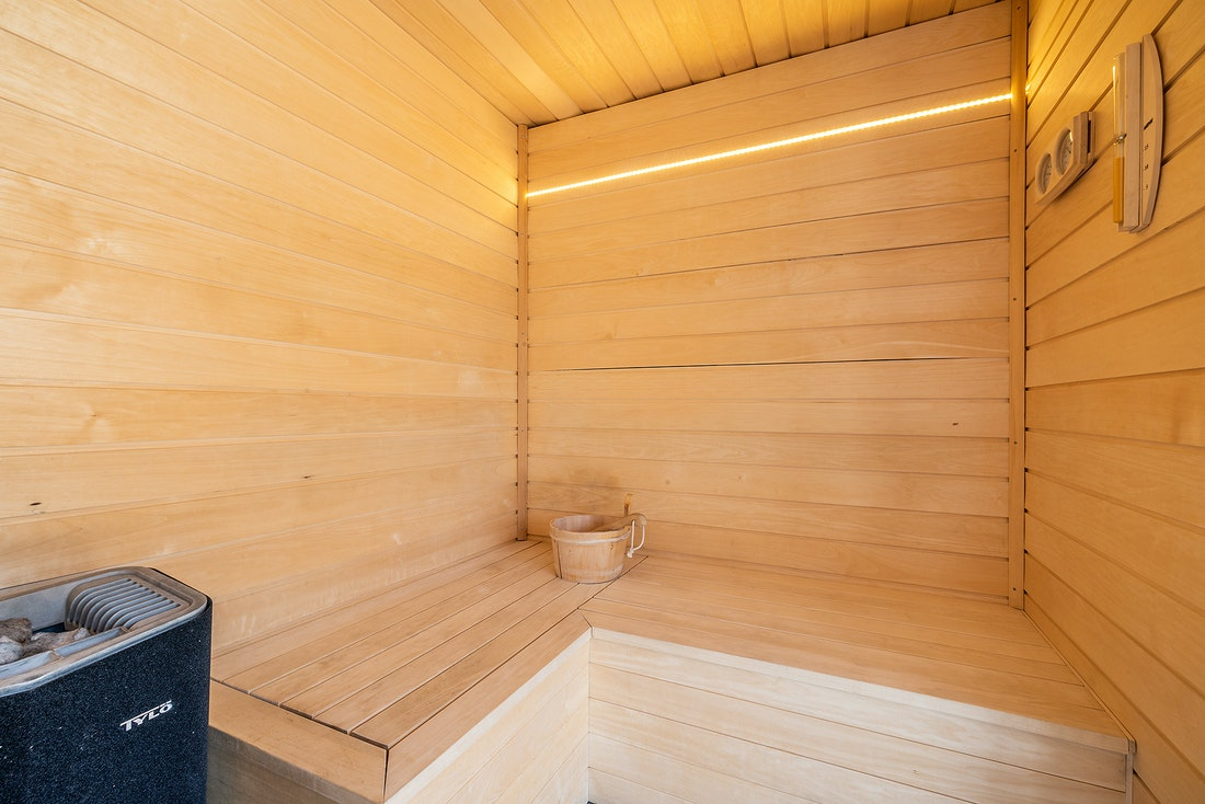 Wooden sauna at Le Rouge luxury chalet in Morzine