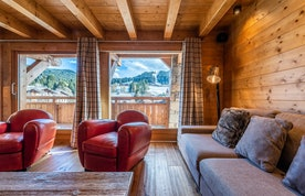 Cosy living room luxury ski chalet Abachi Les Gets