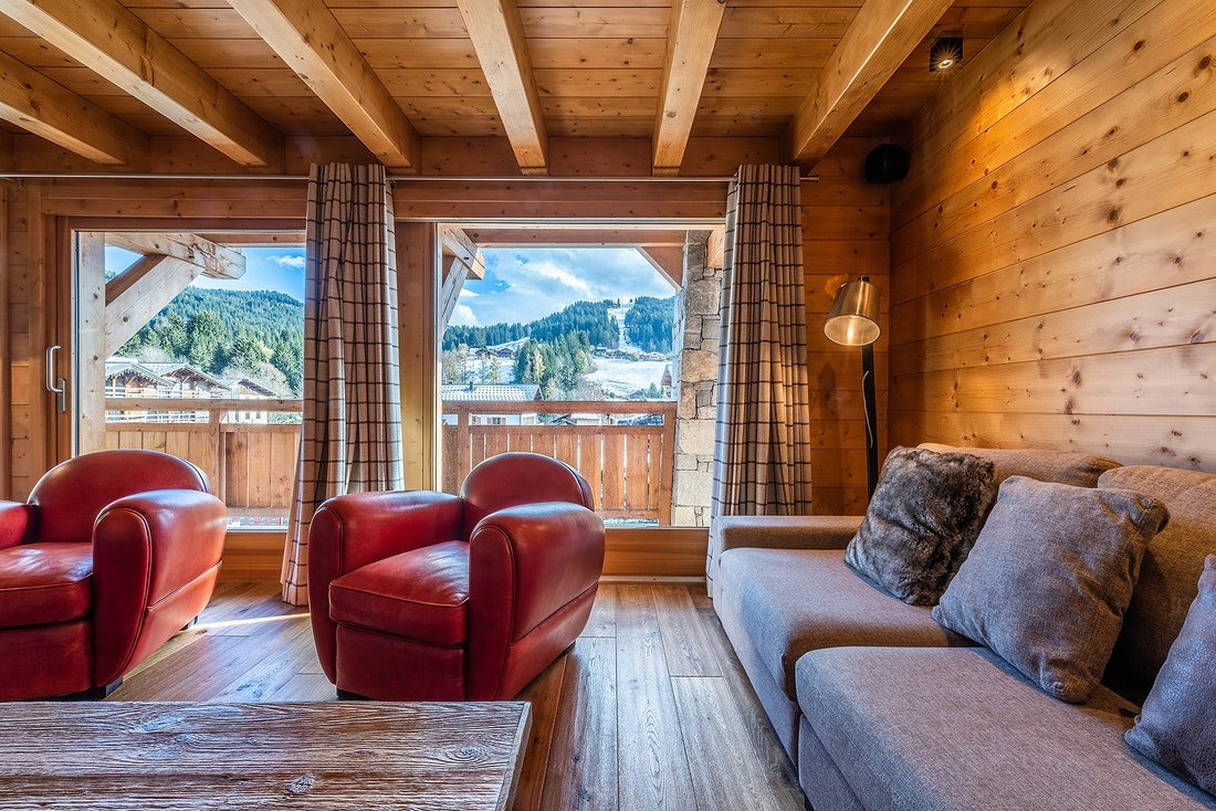 Alpine living room luxury family chalet Abachi Les Gets