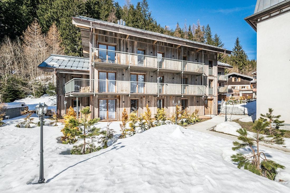 Exterior of Badi luxury chalet in Chamonix under the snow