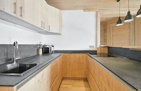 Comtemporary kitchen luxury ski in ski out apartment Itauba Courchevel 1850
