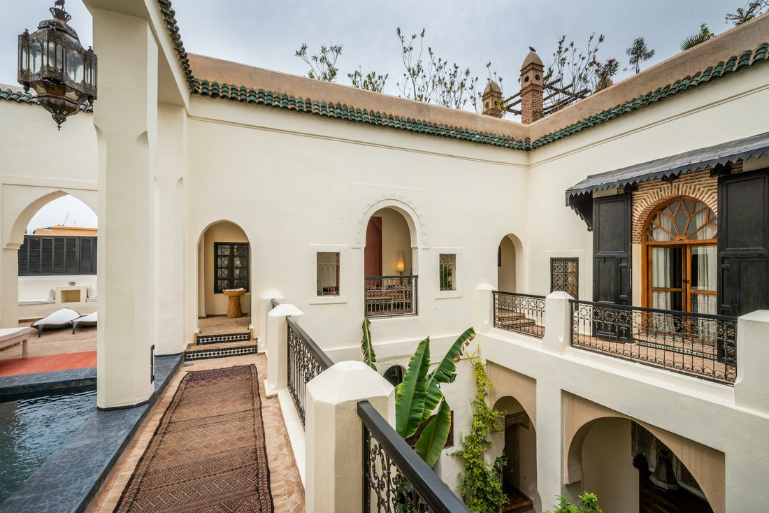 Courtyard with swimming pool at Adilah riad in Marrakech