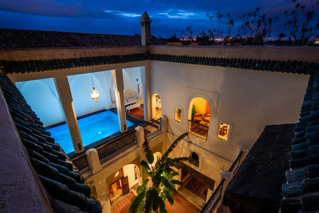 View of the patio of Adilah riad in Marrakech