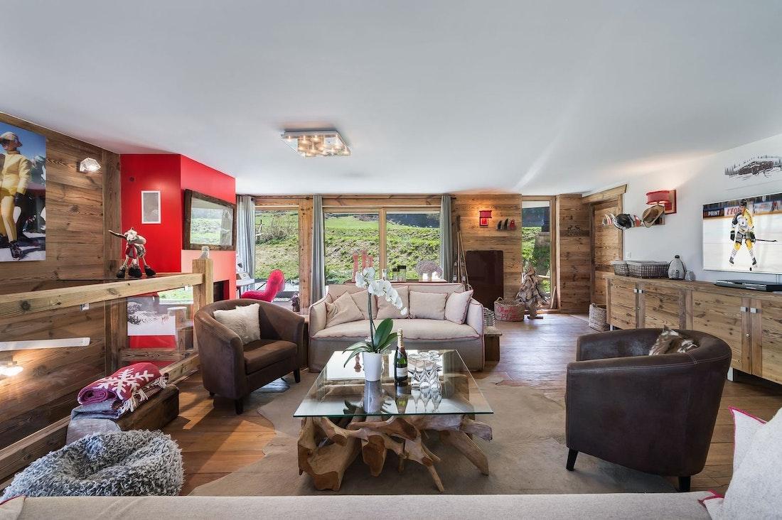 Salon élégant appartement de luxe aux pieds des pistes Moabi Courchevel Le Praz