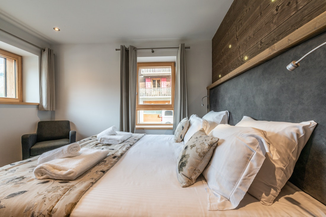Cosy double bedroom with city views at Flocon accommodation in Morzine