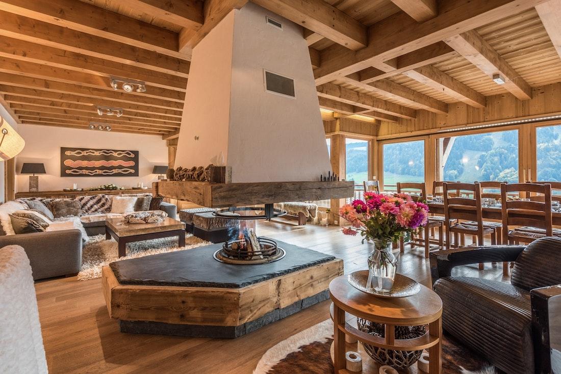 Beautiful fireplace living room family chalet Omaroo II Morzine