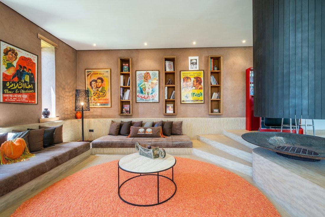 Contemporary and bohemian living room of villa Zagora private villa in Marrakech