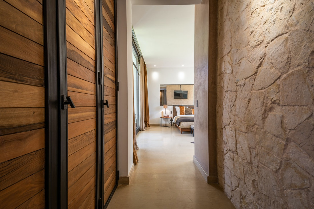 Ethnic double bedroom with real wood wardrobe at Zagora private villa in Marrakech