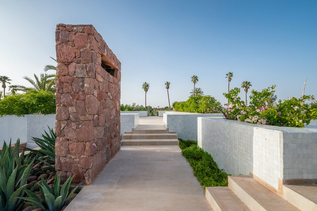Minimalist rooftop with moroccan tiles at Zagora private villa in Marrakech