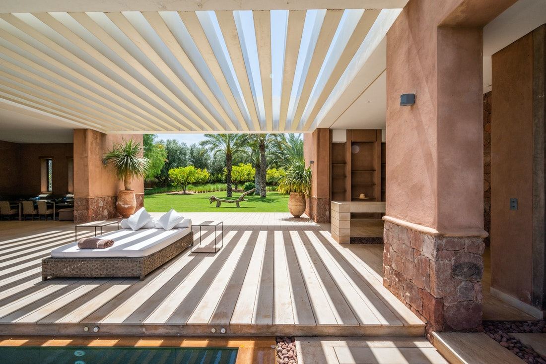 Outdoor raffia daybed at Zagora private villa in Marrakech
