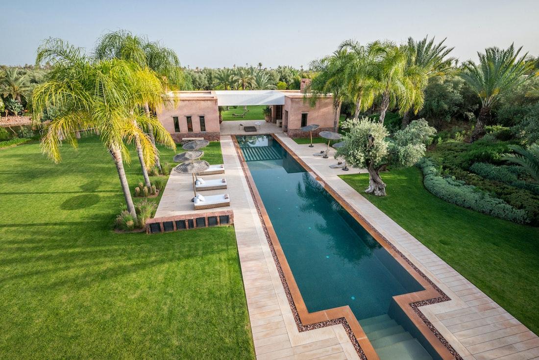Private pool view from the rooftop of villa Zagora private villa in Marrakech
