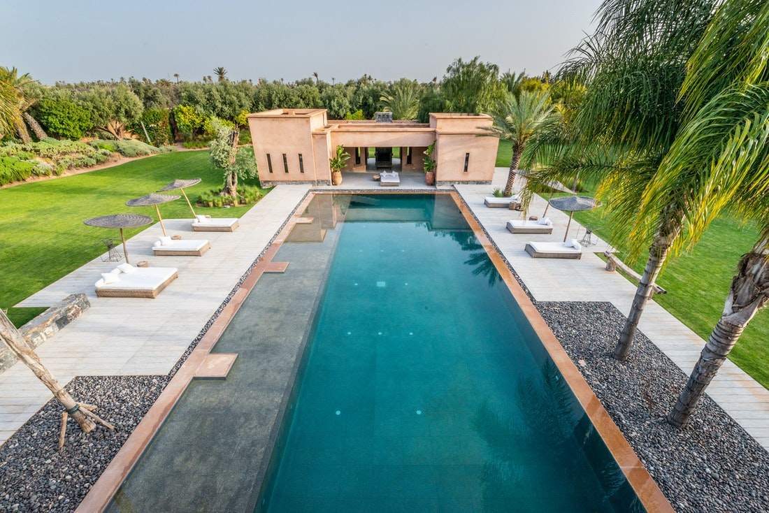 Private pool view from the rooftop of Marhba luxury private villa in Marrakech