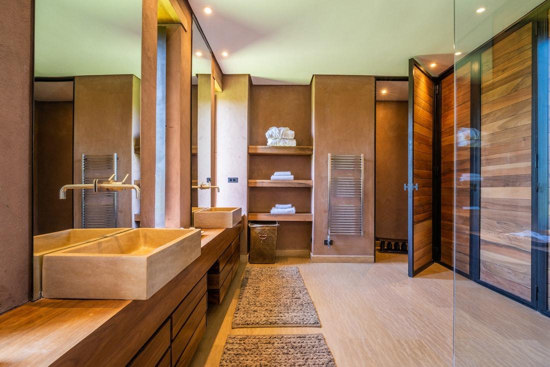 Ethnic and contemporary bathroom at Zagora private villa in Marrakech
