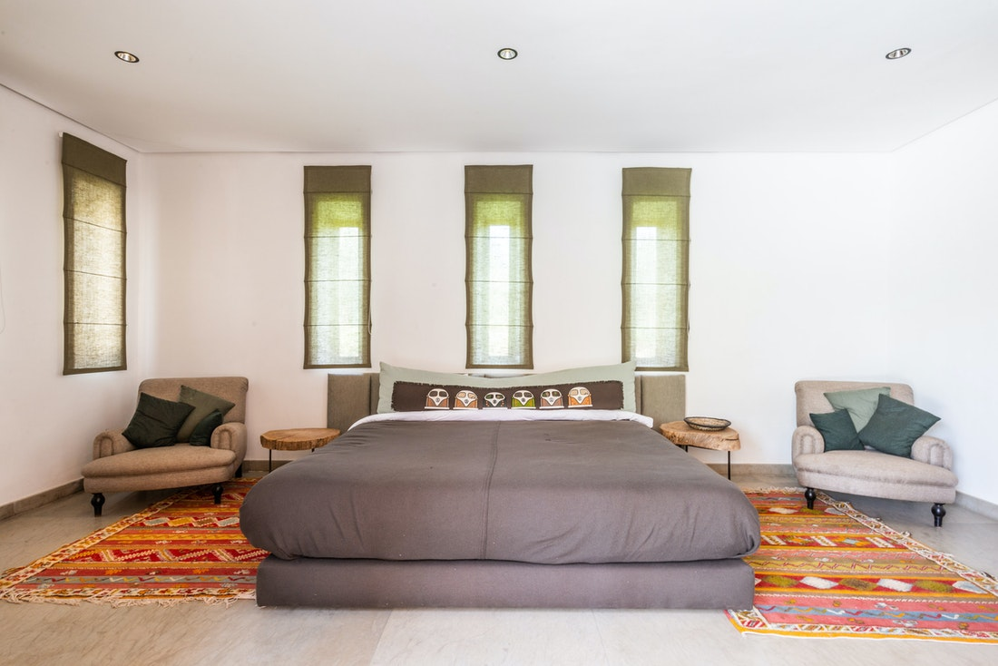 Ethnic bedroom at Marhba luxury private villa in Marrakech