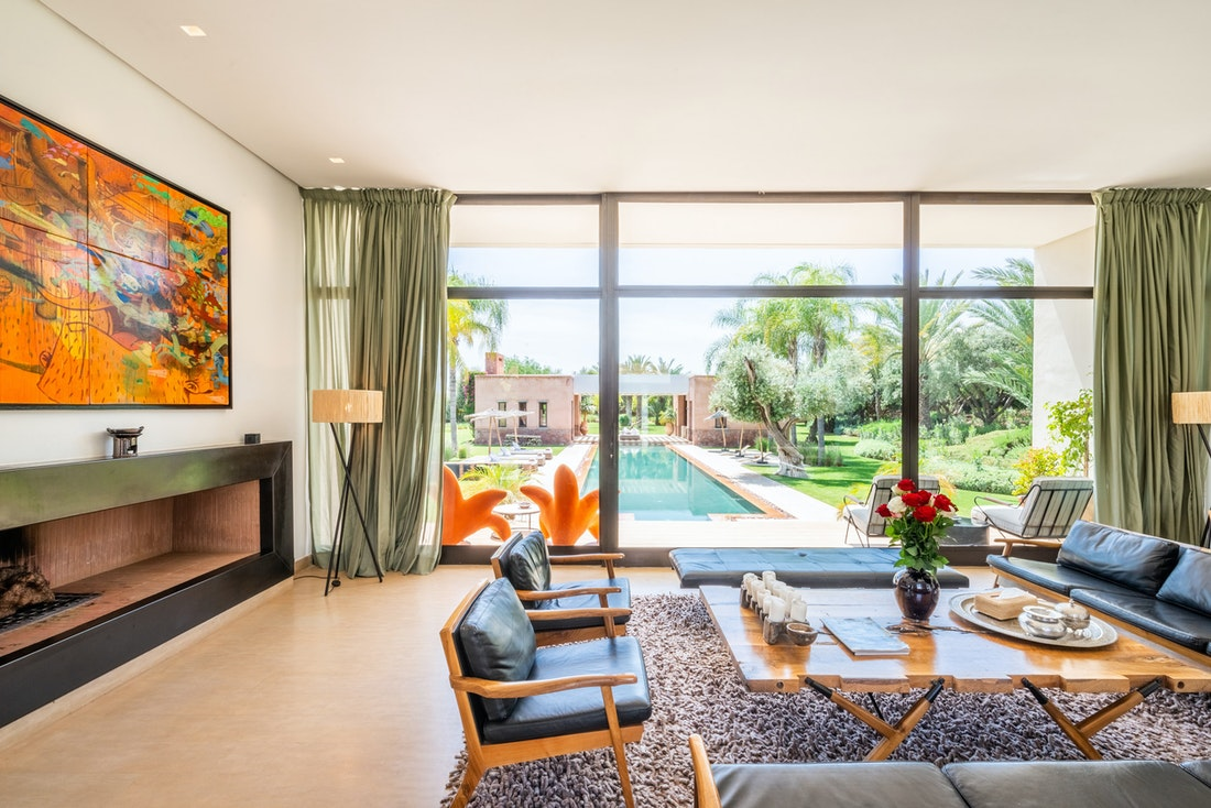 Ethnic living room with views over the private pool of Zagora private villa in Marrakech