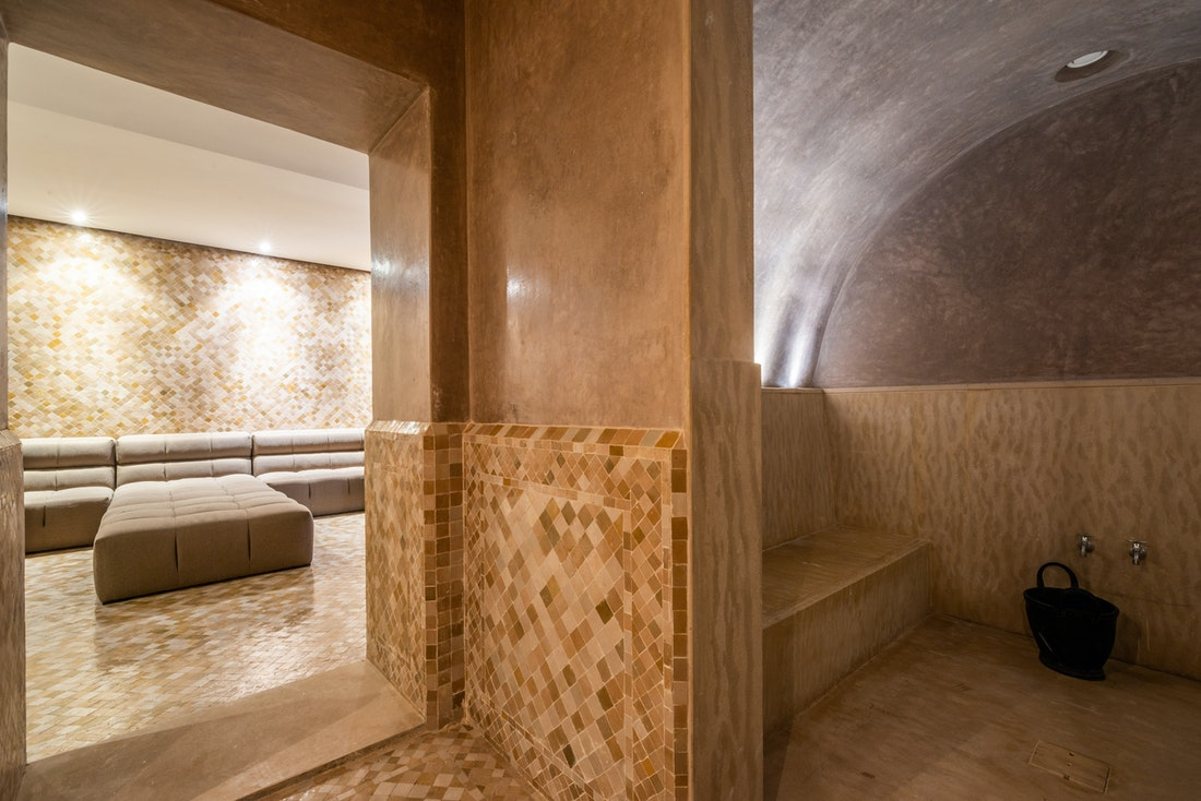 Beige zellige tiles hammam at Zagora private villa in Marrakech
